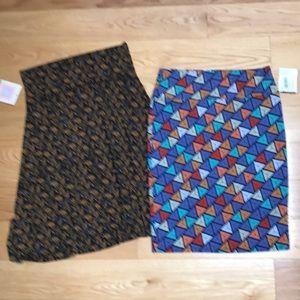 Bundle of 2 LuLaRoe Skirt azure NWT sz L